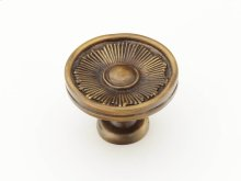 "Solid Brass, Symphony, Sunburst, Round Knob, 1-3/8"" diameter, Estate Dover finish"