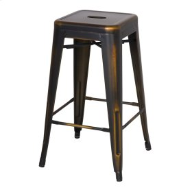 Metropolis Metal Backless Counter Stool, Distressed Copper