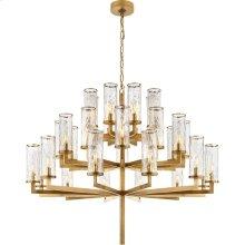 Visual Comfort KW5202AB-CRG Kelly Wearstler Liaison 32 Light 48 inch Antique-Burnished Brass Chandelier Ceiling Light in Antique Burnished Brass, Kelly Wearstler, Triple-Tier, Crackle Glass