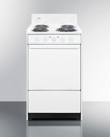 """White 220v Electric Range In Slim 20"""" Width With Storage Compartment"""