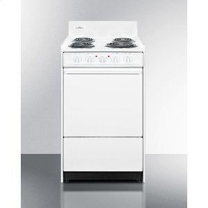 "SummitWhite 220v Electric Range In Slim 20"" Width With Storage Compartment"