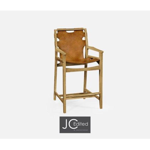 Midcentury Style Slung Medium Antique Chestnut Leather & Light Oak Counter Stool