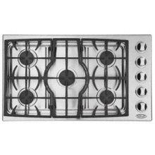 """Brushed Stainless Steel 36"""" Drop-in Cooktop"""