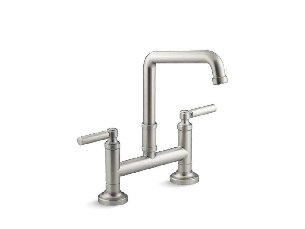 Deck-Mount Bridge Faucet, Lever Handles - Brushed Nickel