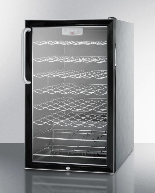 """ADA Compliant 20"""" Wide Wine Cellar for Built-in Use, With Stainless Steel Cabinet, Lock and Digital Thermostat"""