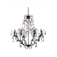 "1132 Charlotte Collection Chandelier D:40"" H:43"" Lt:8 Antique Bronze Finish (Royal Cut Crystals)"