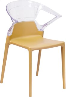 Fascination Series Plastic Stacking Side Chair with Gold Seat and Transparent Back