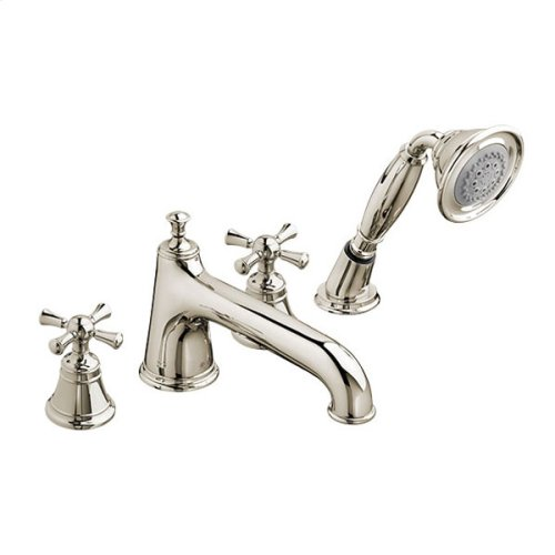 Randall Deck Mount Bathtub Faucet with Hand Shower and Cross Handles - Platinum Nickel