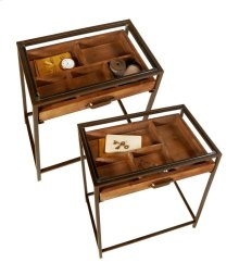 2 pc. set.Table with Curio Pull Out Drawer and Tempered Glass Top.