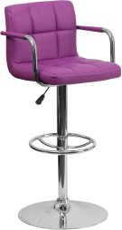 Contemporary Purple Quilted Vinyl Adjustable Height Barstool with Arms and Chrome Base Product Image
