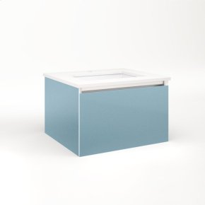 """Cartesian 24-1/8"""" X 15"""" X 21-3/4"""" Single Drawer Vanity In Ocean With Slow-close Plumbing Drawer and Night Light In 5000k Temperature (cool Light)"""