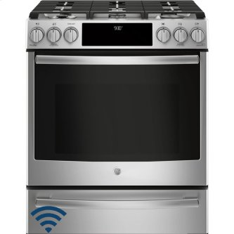 "GE Profile 30"" Gas Slide-In Front Control Dual-Fuel Range with Storage Drawer Stainless Steel PC2S930SELSS"