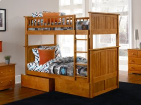 Nantucket Bunk Bed Twin over Twin with Flat Panel Bed Drawers in Caramel Latte