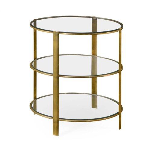 Brass & Glass Circular Side Table