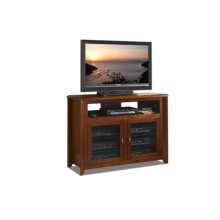 """50"""" Wide Hi-boy Credenza, Solid Wood and Veneer In A Solid Wood and Veneer In A Walnut Finish, Accommodates Most 55"""" and Smaller Flat Panels - No Tools Required"""