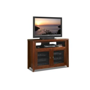 "Techcraft50"" Wide Hi-boy Credenza, Solid Wood and Veneer In A Solid Wood and Veneer In A Walnut Finish, Accommodates Most 55"" and Smaller Flat Panels - No Tools Required"