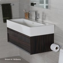 """Wall-mount undercounter vanity with large wood pulls on two drawers, 38 3/4""""W, 17 3/4""""D, 12""""H, washbasin 5460 sold separately."""