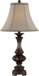 Table Lamp - D.BRZ W.GLASS DECO./FABRIC Shade, E27 Cfl 23w Product Image