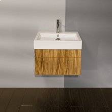 """Wall-mount under-counter vanity with finger pulls on two drawers. Both drawers have U-shaped notch for plumbing, 21 1/4""""W, 17 5/8""""D, 12""""H."""