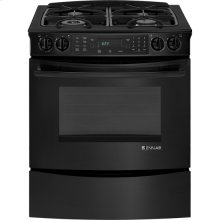 "Slide-In Gas Range with Convection, 30"", Black Floating Glass w/Handle"