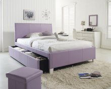 White Full Size Upholstered Trundle Bed