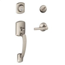 Greenwich Single Cylinder Handleset and Broadway Lever - Satin Nickel