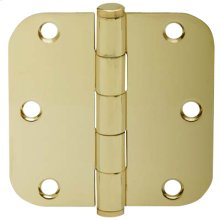 "Door Hardware  3.5"" Round Hinge 5/8"" Radius - Bright Brass"