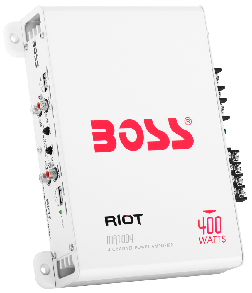 "Riot 400W 4 Channel Full Range, Class A/B Amplifier Dimensions 7.75""L 9""W 2""H"