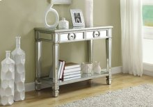 """ACCENT TABLE - 38""""L / BRUSHED SILVER / MIRROR"""