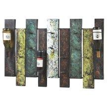 Offset Panel Nine Wine Bottle Wall Holder.