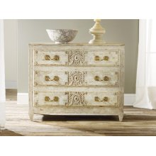 Carved and Painted Three Drawer Chest, Antique Painted Finish. Solid Brass Hardware.