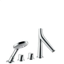 Chrome 4-hole rim mounted thermostatic bath mixer
