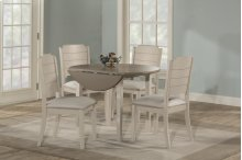Clarion 5-piece Round Drop Leaf Dining Set With Side Chairs - Sea White
