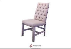 Upholstered Chair with tufted back - 100% Polyester with a linen appearance