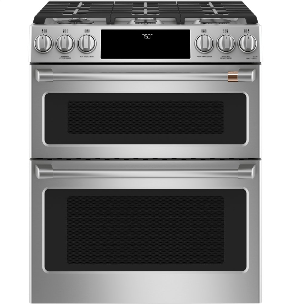 """Cafe Appliances30"""" Smart Slide-In, Front-Control, Gas Double-Oven Range With Convection"""