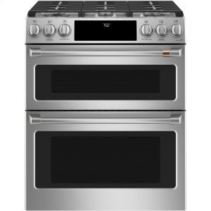 "Cafe Appliances30"" Smart Slide-In, Front-Control Gas Double-Oven Range with Convection"