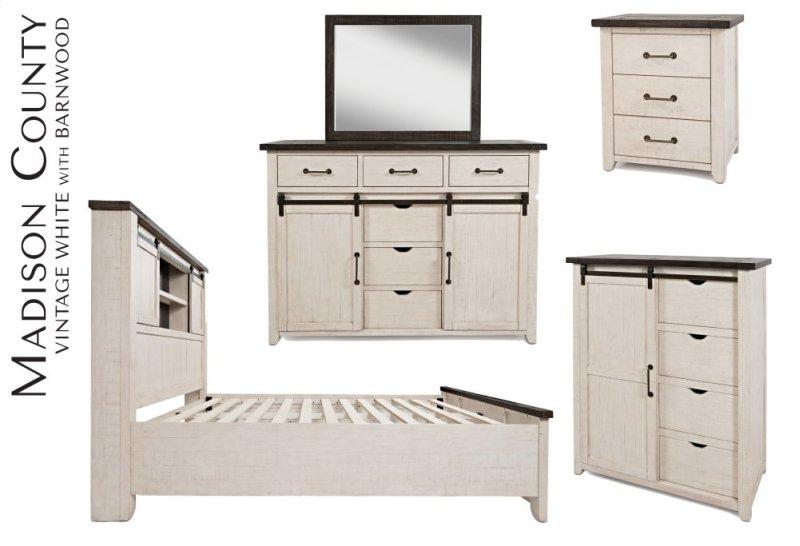 Madison County 4 Pc King Barn Door Bedroom Bed Dresser Mirror Nightstand