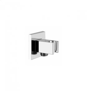 Round Handshower Holder with Outlet - Polished Chrome