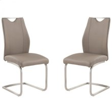 Bravo Contemporary Side Chair In Coffee and Stainless Steel - Set of 2