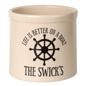 Personalized Life is Better on a Boat Crock - Bristol Crock with Black Etching Product Image