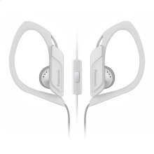 Water-Resistant Sport Clip Earbud Headphones with Mic + Controller - White - RP-HS34M-W