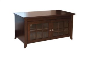 """48"""" Wide Credenza, Solid Wood and Veneer In A Walnut Finish, Accommodates Most 52"""" and Smaller Flat Panels"""