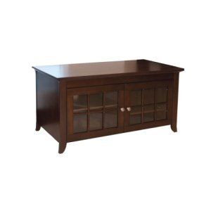 "Techcraft48"" Wide Credenza, Solid Wood and Veneer In A Walnut Finish, Accommodates Most 52"" and Smaller Flat Panels"