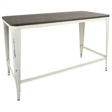 Pia Office Desk - Vintage Cream Metal, Espresso Bamboo