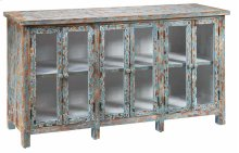 Dawson Creek Weathered Oak and Cyan 6 Door Sideboard
