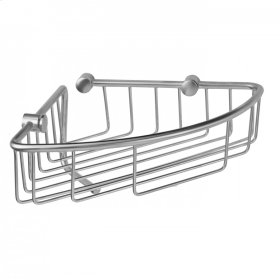 Polished Chrome - Corner Wire Basket with Cloth Holder