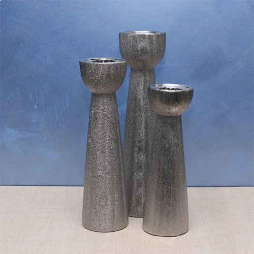 """Textured Silver Candle Holder, 14"""""""