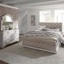 Queen Uph Sleigh Bed, Dresser & Mirror