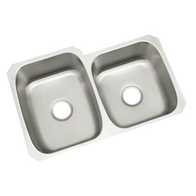 "McAllister® Undercounter, Unequal Double-basin Kitchen Sink, 32"" x 21"" x 9"""