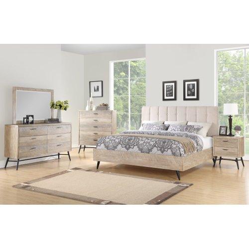 Emerald Home Nova King Bed Kit Sterling Gray Finish With Black Metal Legs B700-14-k